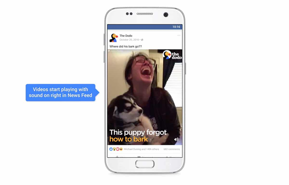 screen della pagina facebook The Dodo: concept per Video per Facebook - audio attivo sui dispositivi mobile